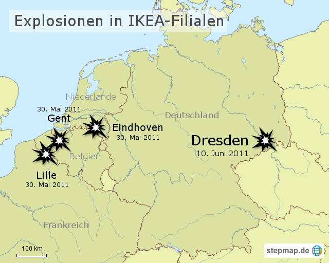 explosionen in ikea filialen von soschi landkarte f r deutschland. Black Bedroom Furniture Sets. Home Design Ideas