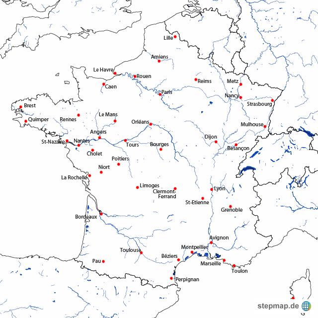 Frankreich Karte Stadte.Landkarte Frankreich Stadte Und Flusse Kleve Landkarte