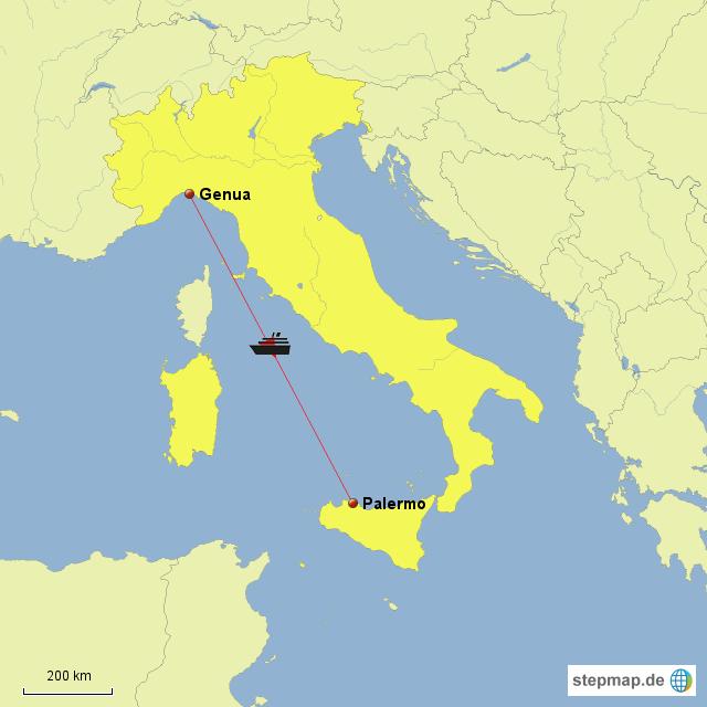 genua landkarte italien Fähre Genua Palermo von Dachs   Landkarte für Italien