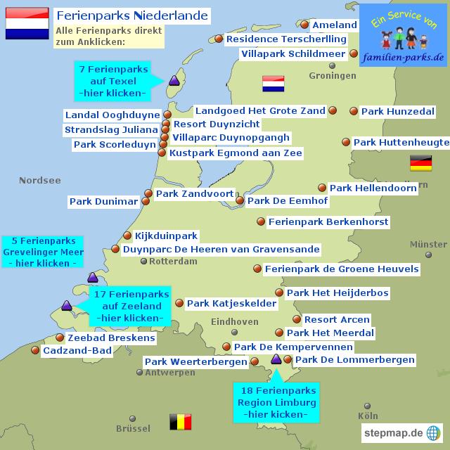 Zeeland Holland Karte.Ferienparks Holland Karte Kleve Landkarte