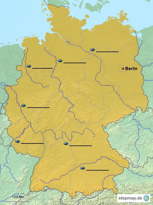 fl sse in deutschland mit flussl cken von schulerelli landkarte f r deutschland. Black Bedroom Furniture Sets. Home Design Ideas