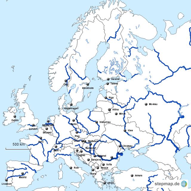 Europa karten flüsse in europa blau