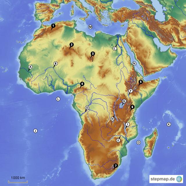 Flüsse und gebirge in afrika