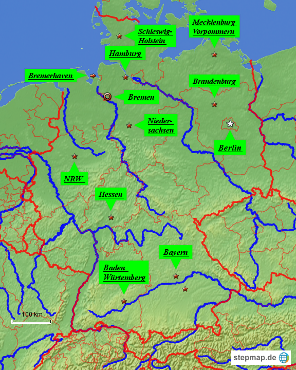 fl252sse und st228dte von smore landkarte f252r deutschland