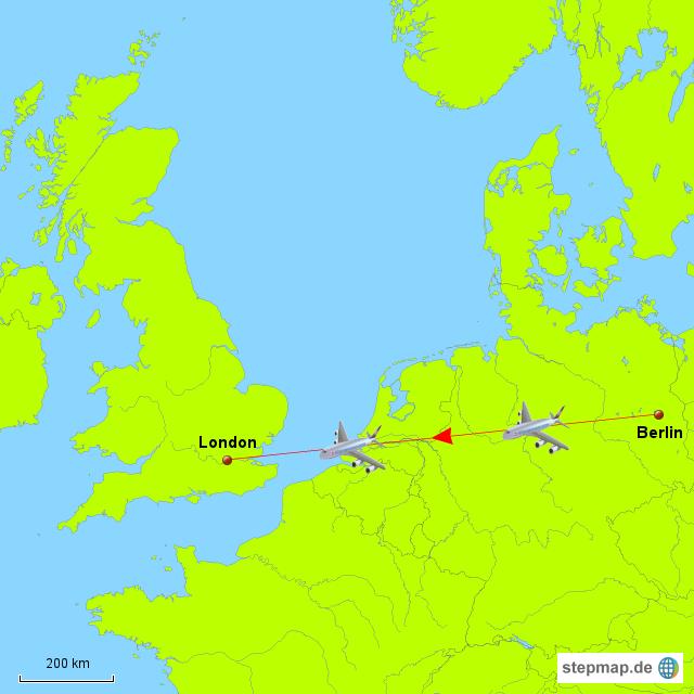Briefe Von London Nach Deutschland : Flug berlin london von alpinum landkarte für deutschland