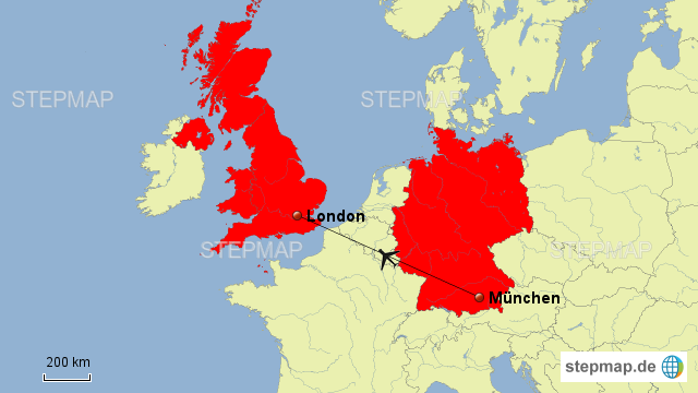 Flug München London Von Claassen Landkarte Für Deutschland