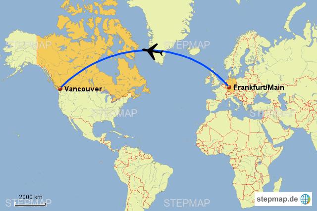 Briefe Von Kanada Nach Deutschland : Flug nach vancouver von weba landkarte für deutschland