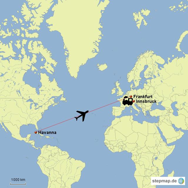 flug von havanna nach frankfurt und bahnfahrt nach innsbruck von claudija landkarte f r. Black Bedroom Furniture Sets. Home Design Ideas
