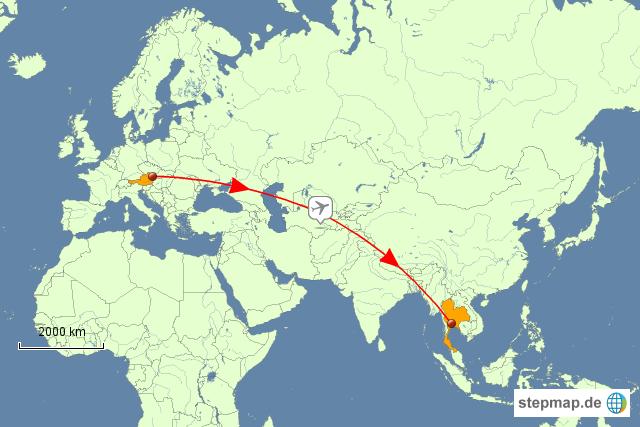 Flug Wien Bangkok Von Gruberha Landkarte Für österreich
