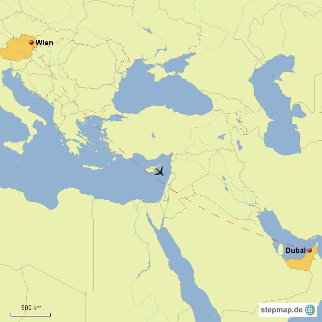 Flug Wien Dubai Von Kristin Landkarte Für Deutschland