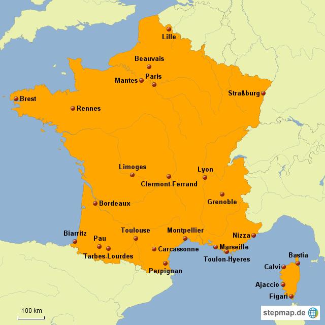 Flughafen Frankreich Karte