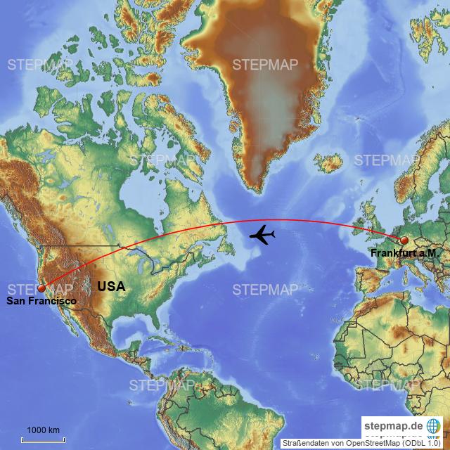 Flugstrecke DE-USA von Christel119 - Landkarte für Deutschland