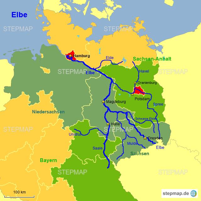 elbe fluss karte Fluss Elbe von Sandfuchs   Landkarte für Deutschland