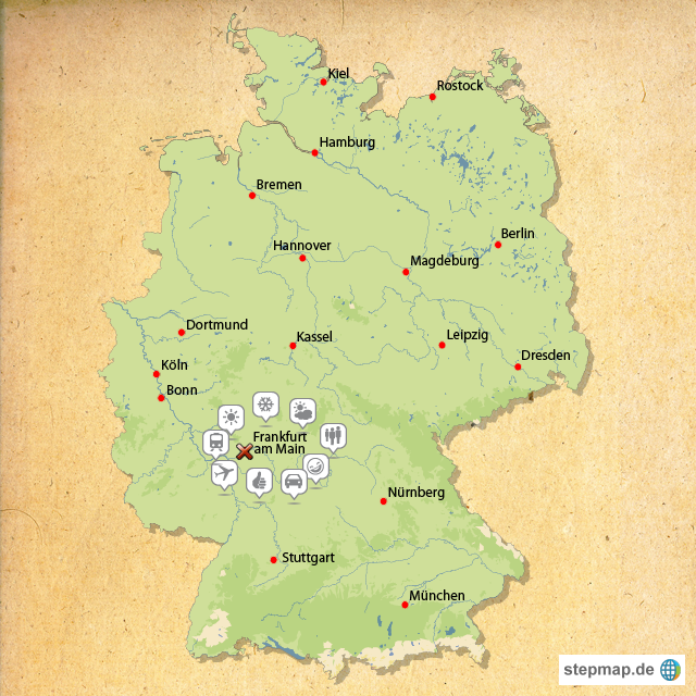 Frankfurt am Main Germany  City new picture : Frankfurt am Main, Germany von carinchenkeil Landkarte für ...