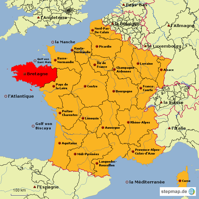 bretagne karte Landkarte Bretagne Frankreich | Kleve Landkarte