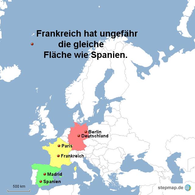 frankreich hat ungefähr die gleiche fläche wie spanien von