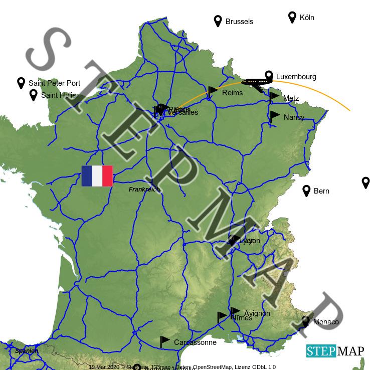 Landkarte: Frankreich