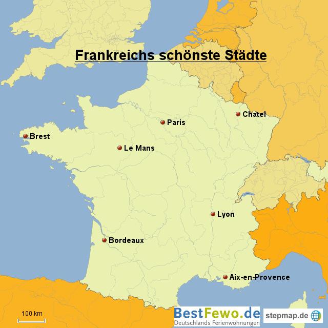 frankreichs sch nste st dte von bestfewo landkarte f r. Black Bedroom Furniture Sets. Home Design Ideas