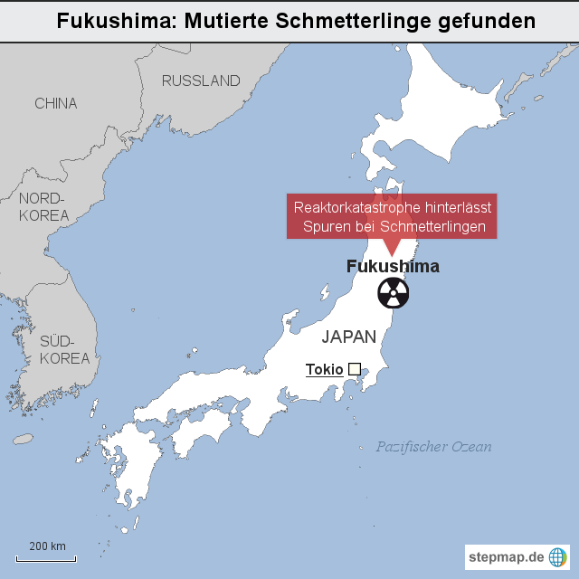 Fukushima Mutierte Schmetterlinge Gefunden Von Keiser Landkarte