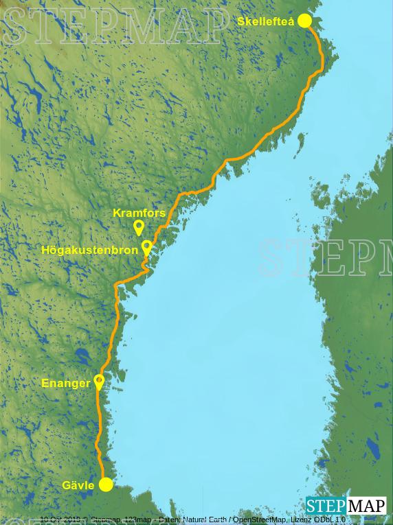 Landkarte: Gävle-Skelleftea