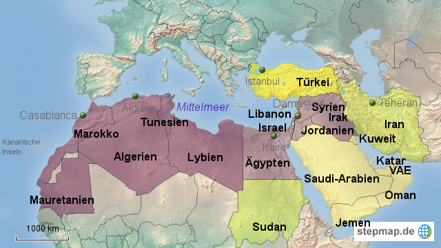 Gebiet der arabischen Küche von Khyra - Landkarte für ...
