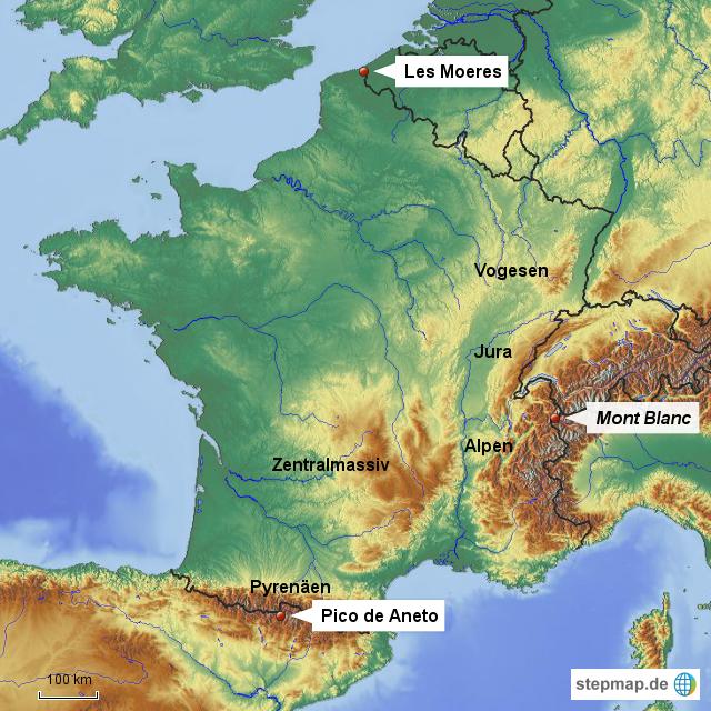 Gebirge in Frankreich von Zugvogel69 - Landkarte für ...