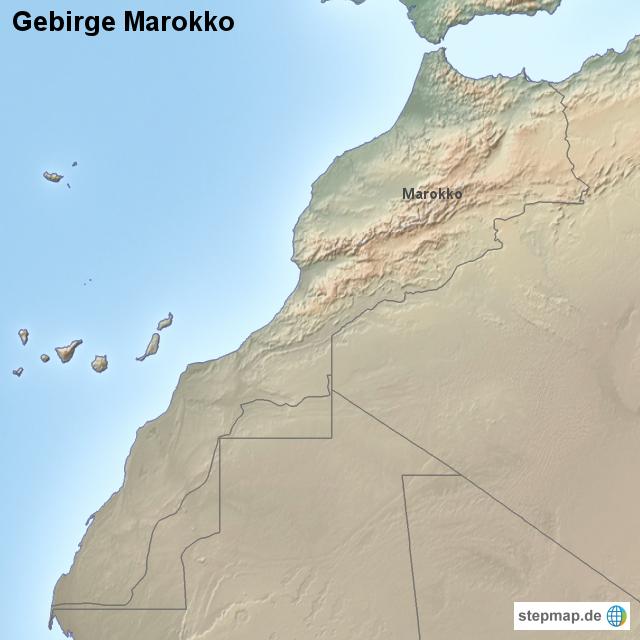 gebirge marokko von l nderkarte landkarte f r marokko. Black Bedroom Furniture Sets. Home Design Ideas