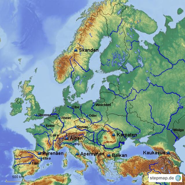 flüsse und gebirge in europa