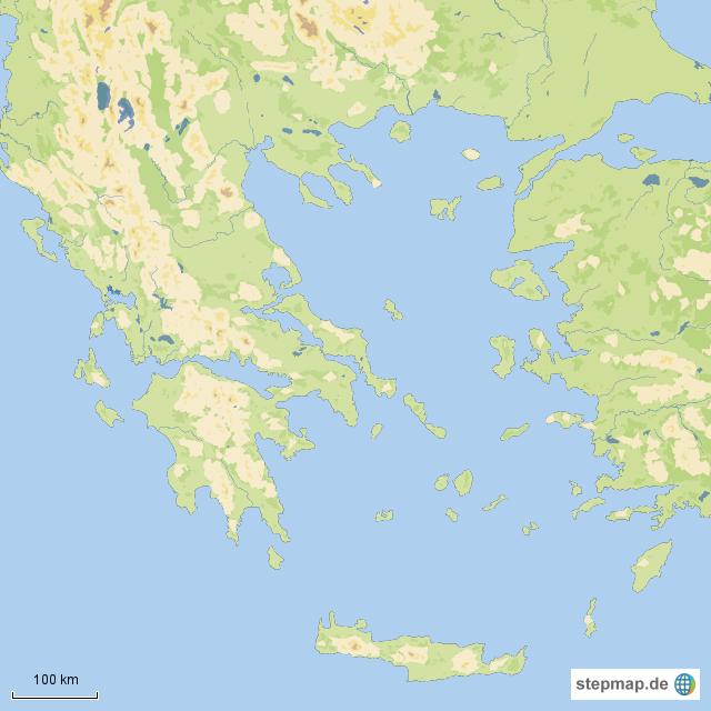 geographische karte StepMap   geographische Karte   Landkarte für Griechenland