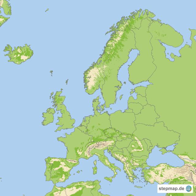 geographische karte StepMap   geographische Karte Europa   Landkarte für Europa