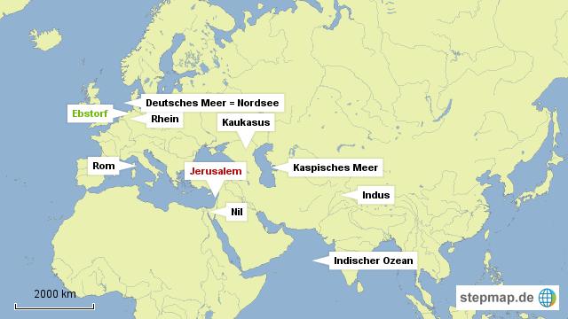 Jerusalem Karte Welt.Stepmap Geographische Reichweite Der Ebstorfer Weltkarte