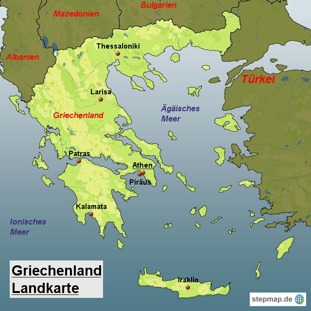 Landkarte Griechenland (Regionen Griechenlands) : Weltkarte.com ...