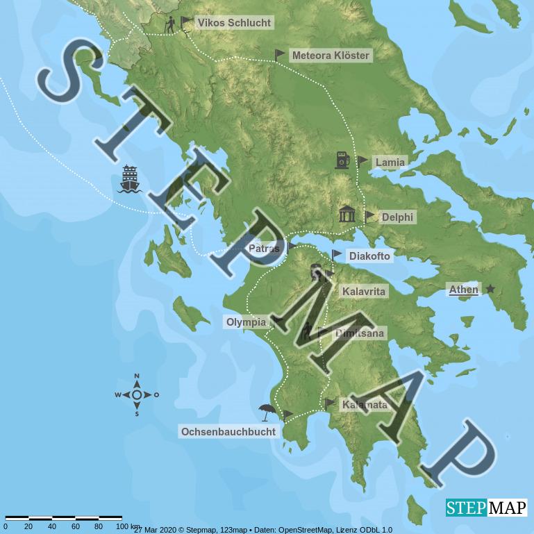 Landkarte: Griechenland mit Icons