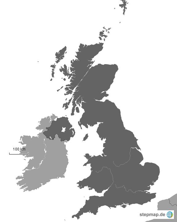 gro britannien schwarz wei von spolli landkarte f r das vereinigtes k nigreich. Black Bedroom Furniture Sets. Home Design Ideas