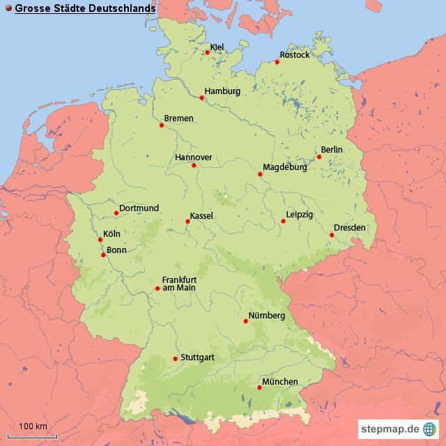grosse st dte deutschlands von ringold landkarte f r deutschland. Black Bedroom Furniture Sets. Home Design Ideas
