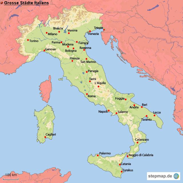 grosse st dte italiens von ringold landkarte f r italien. Black Bedroom Furniture Sets. Home Design Ideas