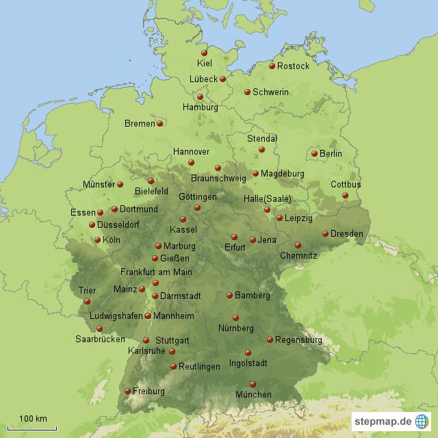 gro e und kleine st dte in deutschland von maxi76 landkarte f r deutschland alle bundesl nder. Black Bedroom Furniture Sets. Home Design Ideas