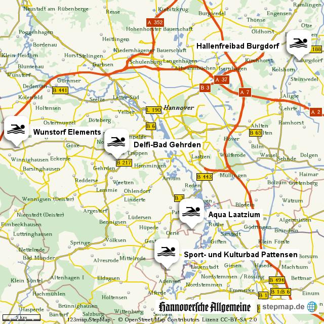 hallenb der in der region hannover von madsack online landkarte f r deutschland. Black Bedroom Furniture Sets. Home Design Ideas