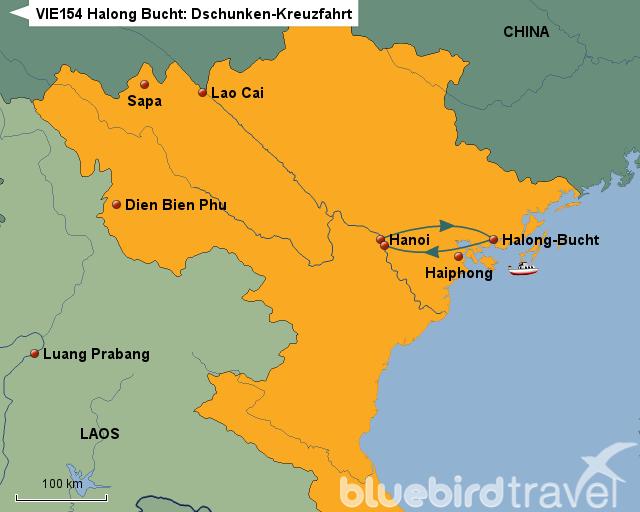 halong bucht dschunken kreuzfahrt von bluebird travel landkarte f r vietnam. Black Bedroom Furniture Sets. Home Design Ideas