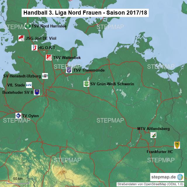 Handball 3liga Nord Frauen 201718 Von Fhc Fans Landkarte Für