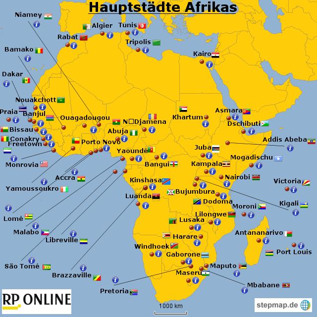hauptst dte afrikas von rponline reise landkarte f r afrika. Black Bedroom Furniture Sets. Home Design Ideas