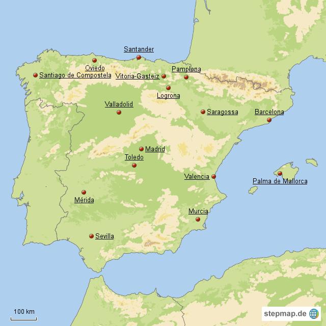 hauptst dte der 17 spanischen gemeinschaften von maxi76 landkarte f r spanien. Black Bedroom Furniture Sets. Home Design Ideas