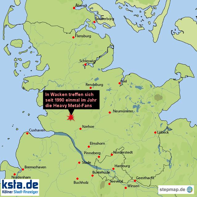 Heavy Metal in Wacken von ksta - Landkarte für Schleswig ...