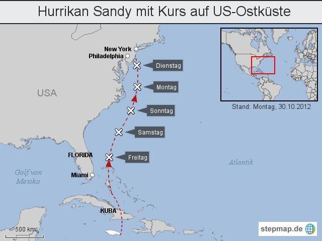 Karte Von Florida Westkuste.Hurrikan Sandy Mit Kurs Auf Us Ostkuste Von Lvzred