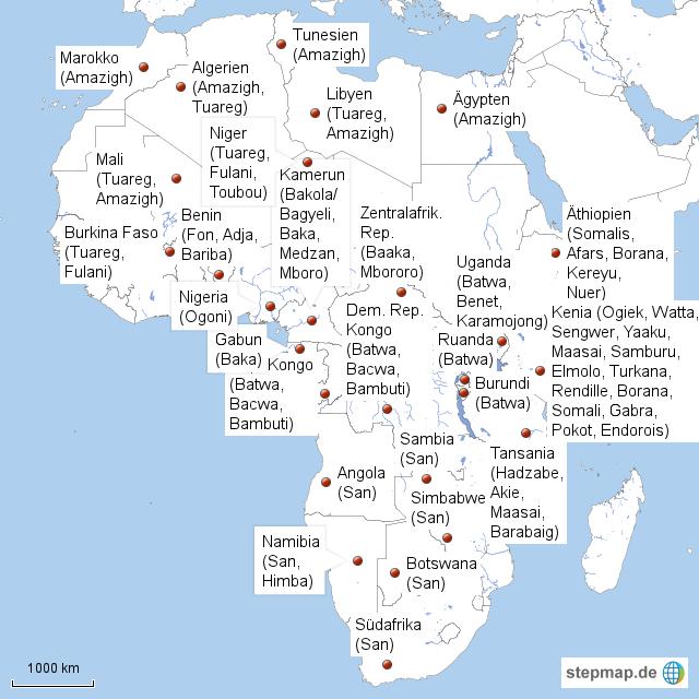 afrika topographie karte