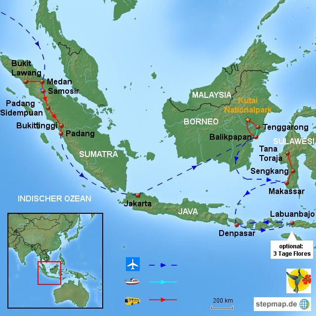 INDO Indonesien - Sumatra - Borneo - Sulawesi - Bali, 19 Tage von sommerfern - Landkarte für ...