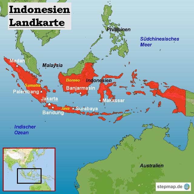 Indonesien Landkarte von <b>Landkarten</b> - Landkarte für Indonesien