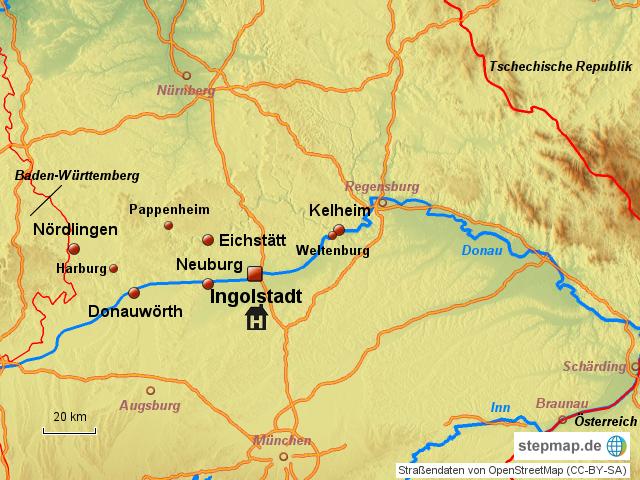 ingolstadt und umgebung 1a von otto ii landkarte f r deutschland. Black Bedroom Furniture Sets. Home Design Ideas
