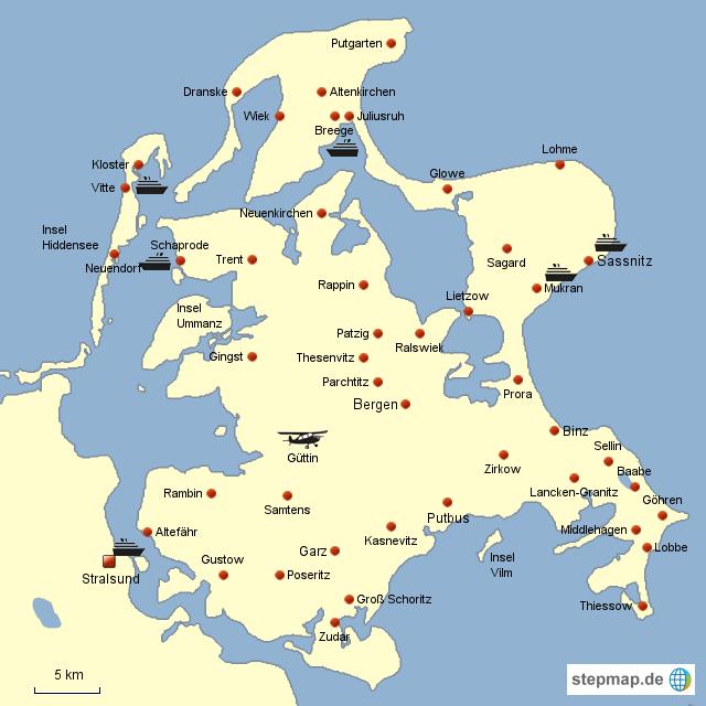 Insel Rugen Von Jurgas Landkarte Fur Deutschland