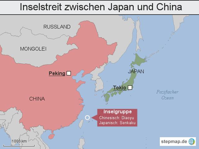 karte japan china Inselstreit zwischen Japan und China von bazgrafik   Landkarte für